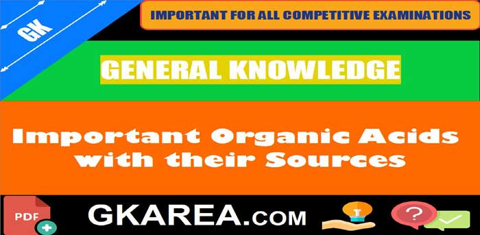 Important Organic Acids with their Sources