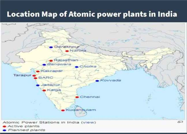 Location Map of Atomic power plants in India