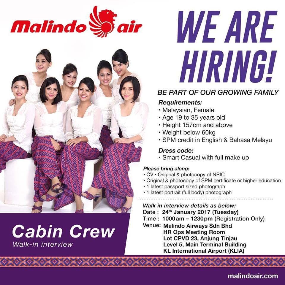 Malindo air cabin crew interview 2017