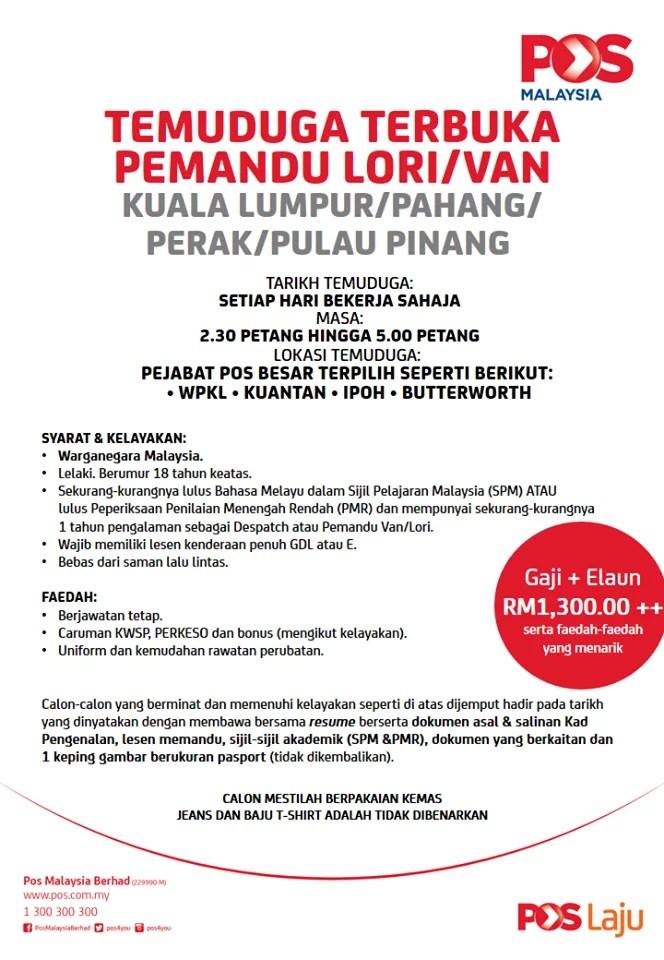 Jawatan kosong pemandu Van Pos malaysia Berhad