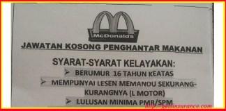 Jawatan Kosong Penghantar Makanan MCD