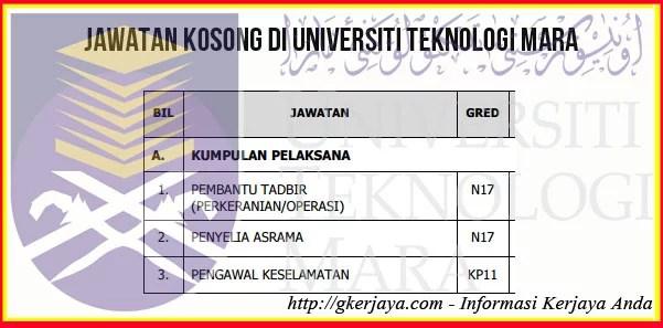 Kerja Kosong Terengganu Universiti Teknologi Mara