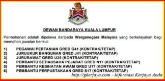 Kerja Kosong Kerajaan Dewan Bandaraya Kuala Lumpur