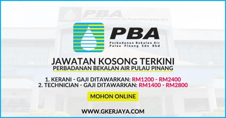 Kerja Kosong Perbadanan Bekalan Air Pulau Pinang Sdn Bhd