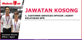 Kerja kosong Customer Service Officer Malindo Air