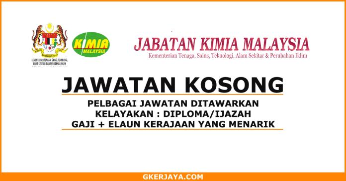 Peluang kerjaya Jabatan Kimia Malaysia