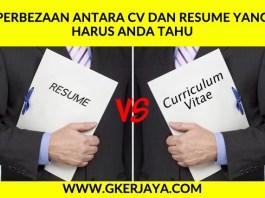 Perbezaan antara CV dan Resume yang harus anda tahu