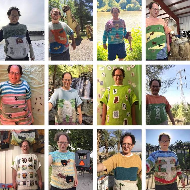 Guy Knits Postcard Sweaters of Places, Then Takes Picture Wearing Them in Front of the Real Place.