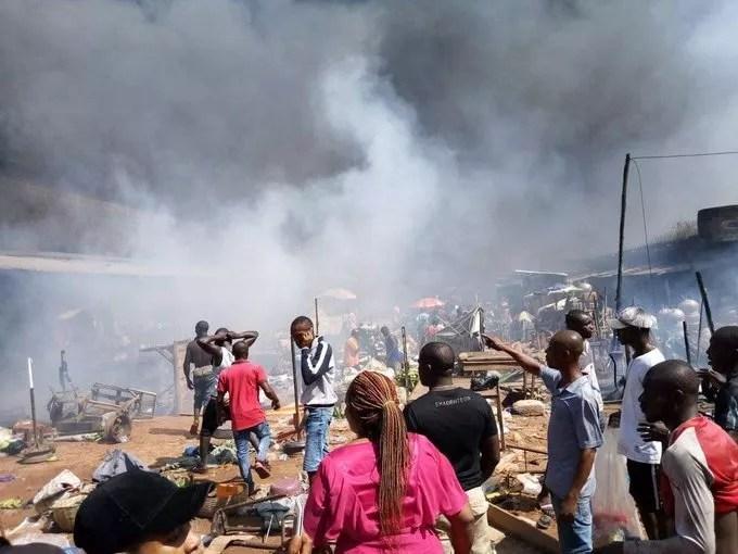 Some Parts Of Ochanja Market In Onitsha Is Still On Fire This Morning 1