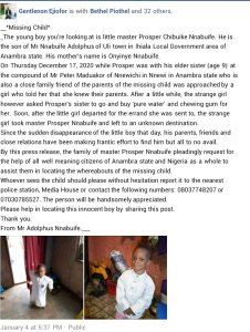 PHOTO! Unknown Girl Abducts Toddler In Anambra 1