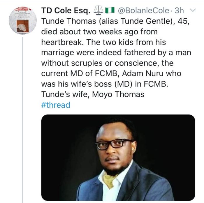 How FCMB MD, Adam Nuru Allegedly Causes The Death Of Mr. Tunde Thomas After Dating His Wife Who Is FCMB Staff For 8 Years 1