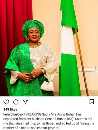 Twitter Journalist Kemi Olunloyo, Reveals The Relationship Status Of Aisha Buhari And Her Husband 4