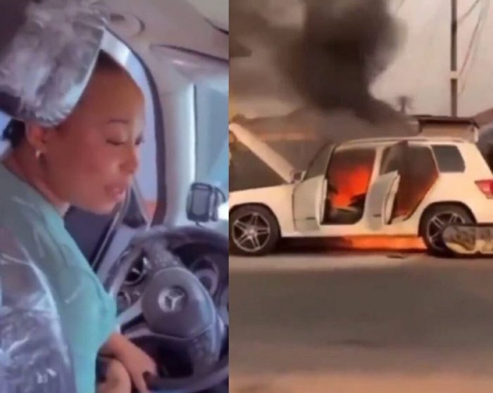 Watch How Lady's Car Catches Fire Few Hours After Buying It (VIDEO) 1