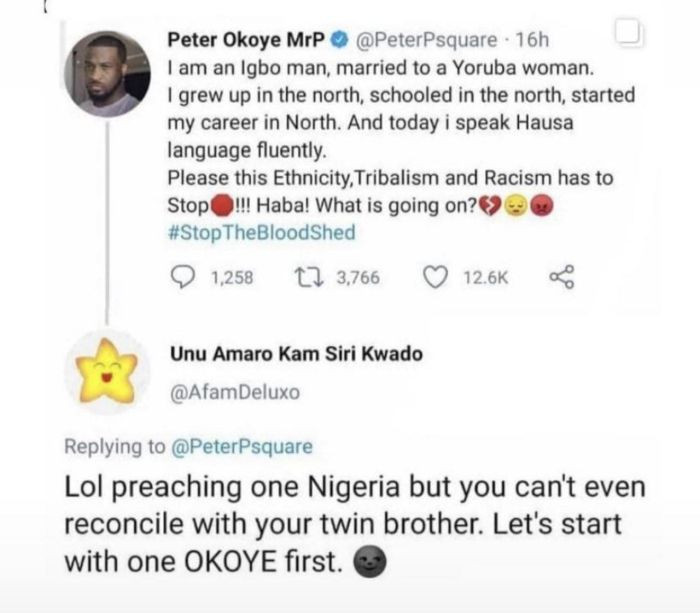 SAVAGE!! See The Response Someone Gave To Peter Okoye (P'square) When He Said All Tribes Should Unite In Nigeria 🤣🤣 3