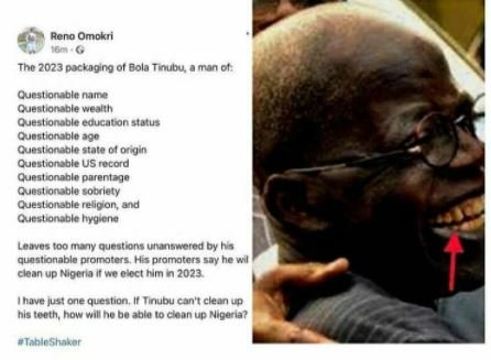 If Tinubu Can't Clean His Teeth, How Will He Clean-Up Nigeria – Reno Omokri 1