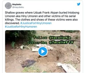 This Is The Shallow Grave Where Serial Killer Buried Hiny Umoren And Other Victims (Photo) 1