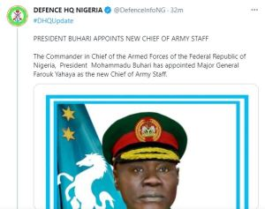 Buhari Appoints Major-General Yahaya Farouk As New Chief Of Army Staff 1