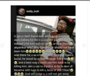 Boy, Ephraim Okon Killed By Friend Who Ran Him Over With A Car To Avoid Paying N30K Debt In Uyo 1