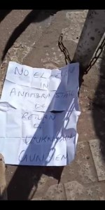 """Unknown Gunmen Behead Man In Anambra Puts A Warning Note """"No Election"""" (See Photo) 2"""