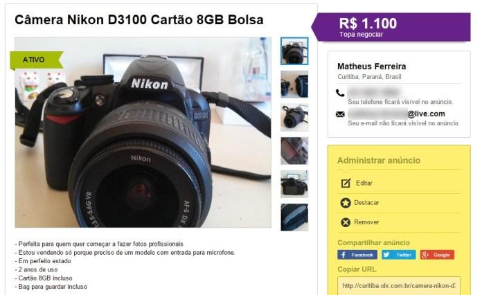 anuncio-olx-camera-nikon-d3100-publicado-1100-reais-blog-geek-publicitario