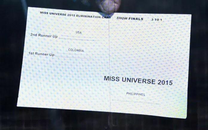 Foto da ficha recebida para o anúncio da Miss Universo 2015.