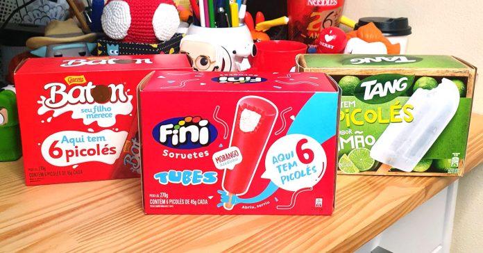 Foto das embalagens dos packs com 6 sorvetes Fini Tubes, Tang Limão e Baton
