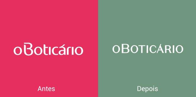 Imagem comparativa do logo de O Boticário antes e depois.