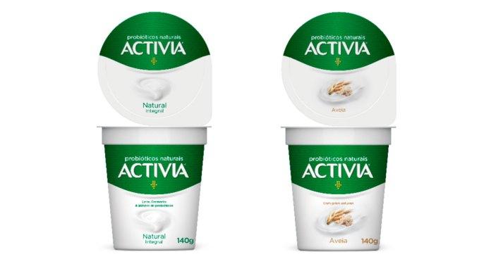 Embalagens dos novos iogurtes natural e aveia com probióticos da Activia.