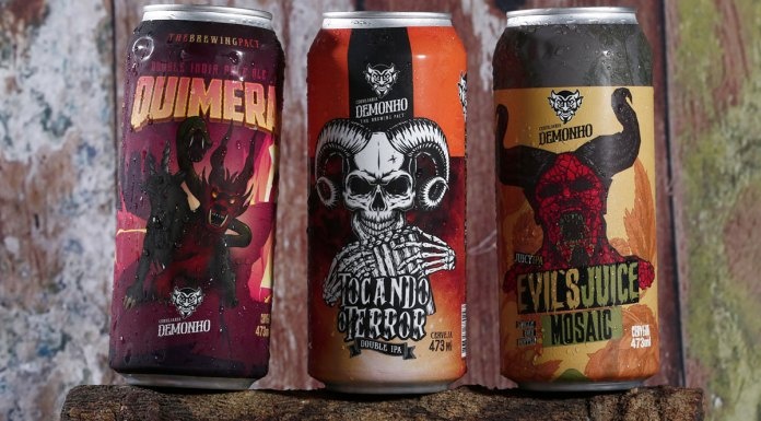 Novas cervejas da cervejaria Demonho. Da esquerda para a direita: Demonho Quimera, Tocando o Terror e Evil's Juicy single dry hop Mosaic.