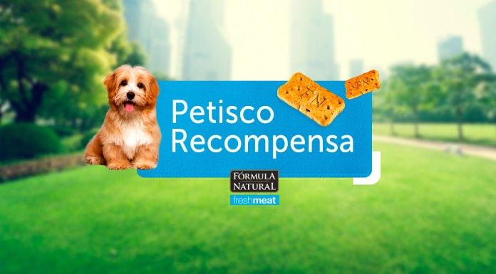 Foto de divulgação da campanha. Ao fundo da imagem um parque aberto, e no centro o logo da ação com um cachorro do lado esquerdo e petiscos do lado direito, entre eles a frase: