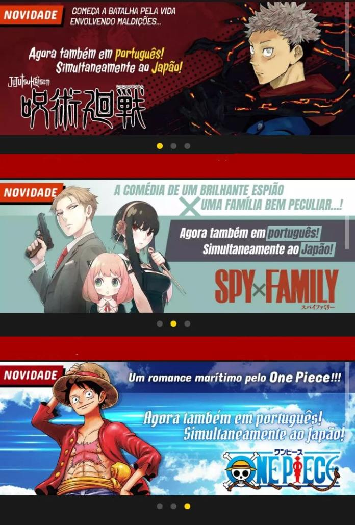 Banners de Jujutsu Kaisen, Spy x Family e One Piece no MANGA Plus