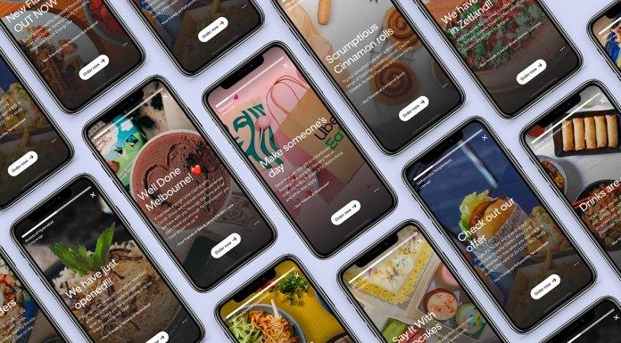 Foto de divulgação para a integração com o Instagram e os stories comerciais da Uber Eats. Uma foto com vários celulares abertos nos stories.