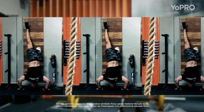 Foto de divulgação da campanha de posicionamento da YoPRO. A foto apresenta Ricardo Allgayer se exercitando na academia.