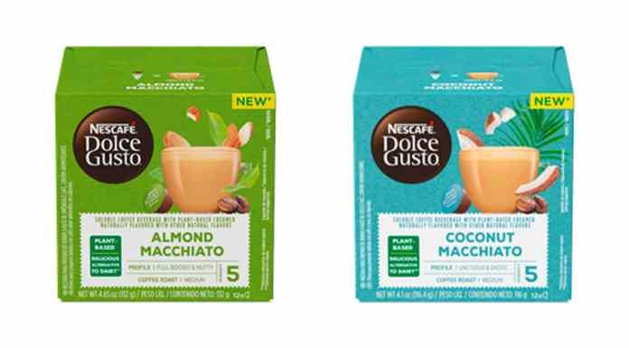 Lançamentos de bebidas vegetais da Nescafé Dolce Gusto. A esquerda o Macchiato Amêndoas e a direita o Macchiato Coco.