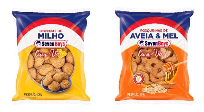A foto apresenta a Broinha de Milho e a Rosquinha Aveia & Mel Casa de Vó da Seven Boys.