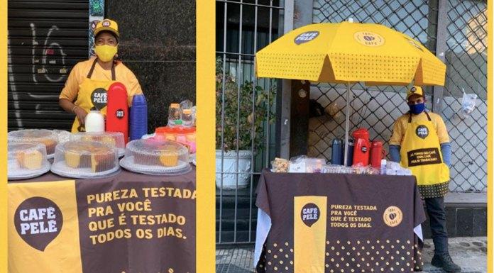 Ação Café na passarela da Café Pelé.