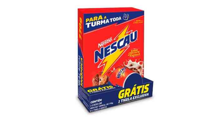 Pack promocional de Nescau Cereal com bowl de brinde.