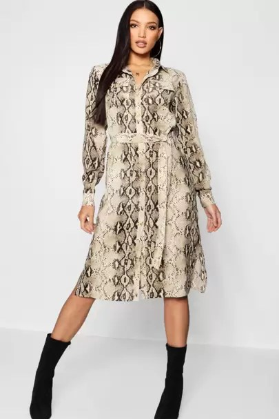 1cb21060bd8c One of the standout pieces this season has to be this pleated snake midi  shirt dress from Topshop.