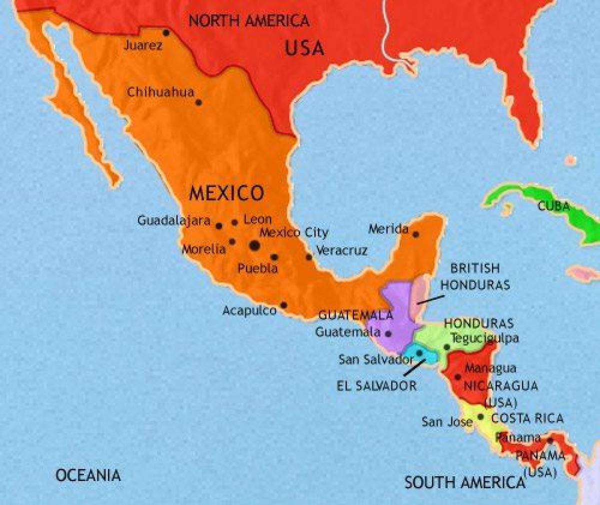 America Mexico Mapa