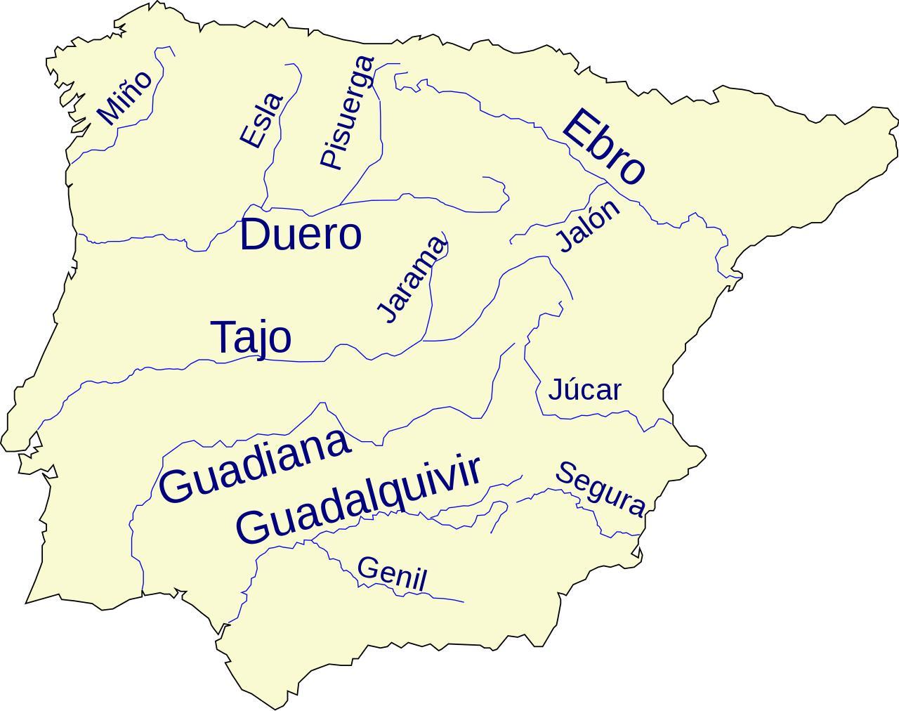Rios De Espana Mapa