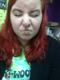 First pierced septum and got fire-engine red hair - repping Marywood at home!