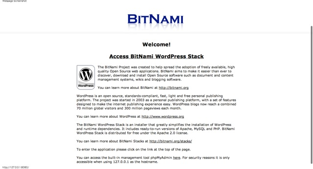 BitNami WordPress Stack finish