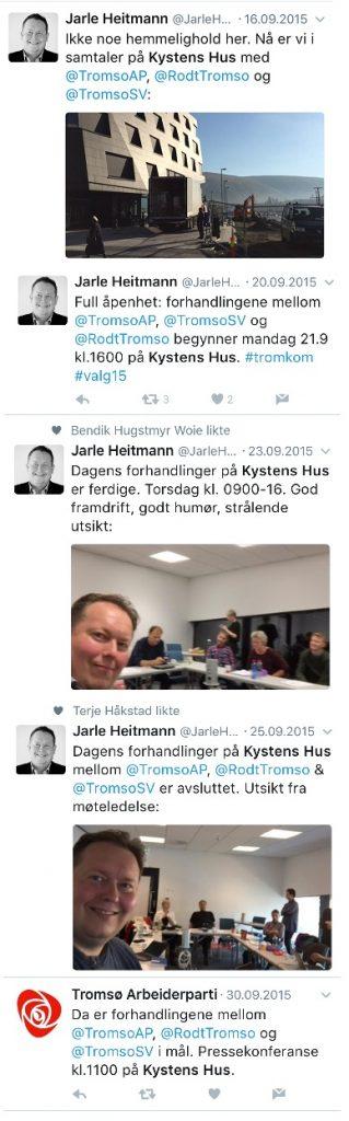 Noen tweets fra Kysten Hus- perioden.
