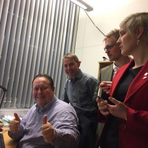 1.12.16: Endelig har vi klart et ferdig saldert budsjettforslag. Jarle Heitmann, Jens I. Olsen, Brage L. Sollund og Ingrid M. Kielland.