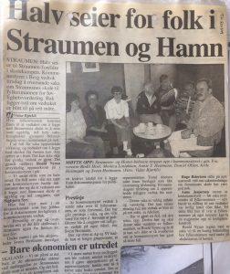 Faksimile fra Folkebladet 22.6.94 - om at saken om Straumsnes skole ble sendt til lovlighetskontroll
