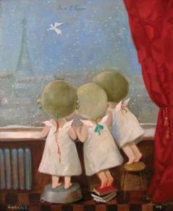 Tre barn tittar ut fönster, söt