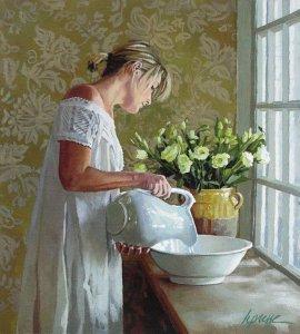 Kvinna tvättfat