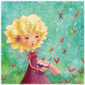 Ljushårig flicka hjärtan blommor