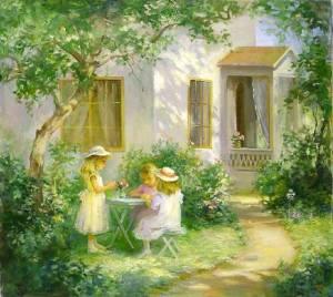 Barn fin fikar trädgård