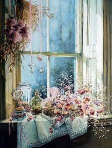 Fönster blommor torkade